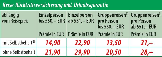 HanseMerkur Reise-Rücktrittsversicherung inkl. Urlaubsgarantie